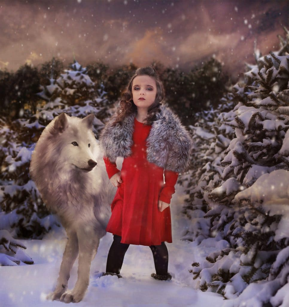 young irl, curly hair, half up, red dress, grey faux fur on shoulders, large wolf at her side, snowing, tree farm, snow covered trees, night time, hands on her hips, no smile.