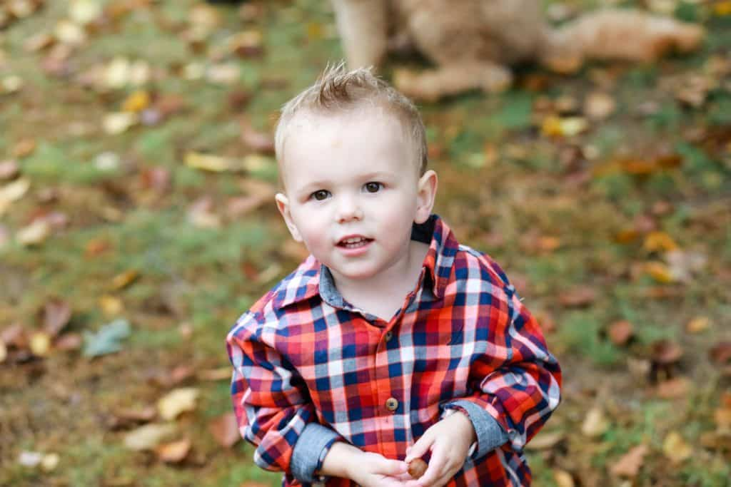 boy in plaid shirt looking at the camera standing in the yard in the fall