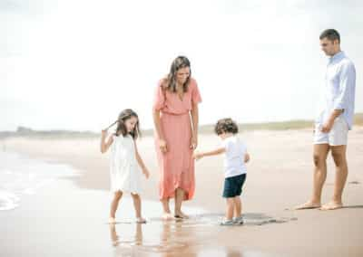family on maine beach
