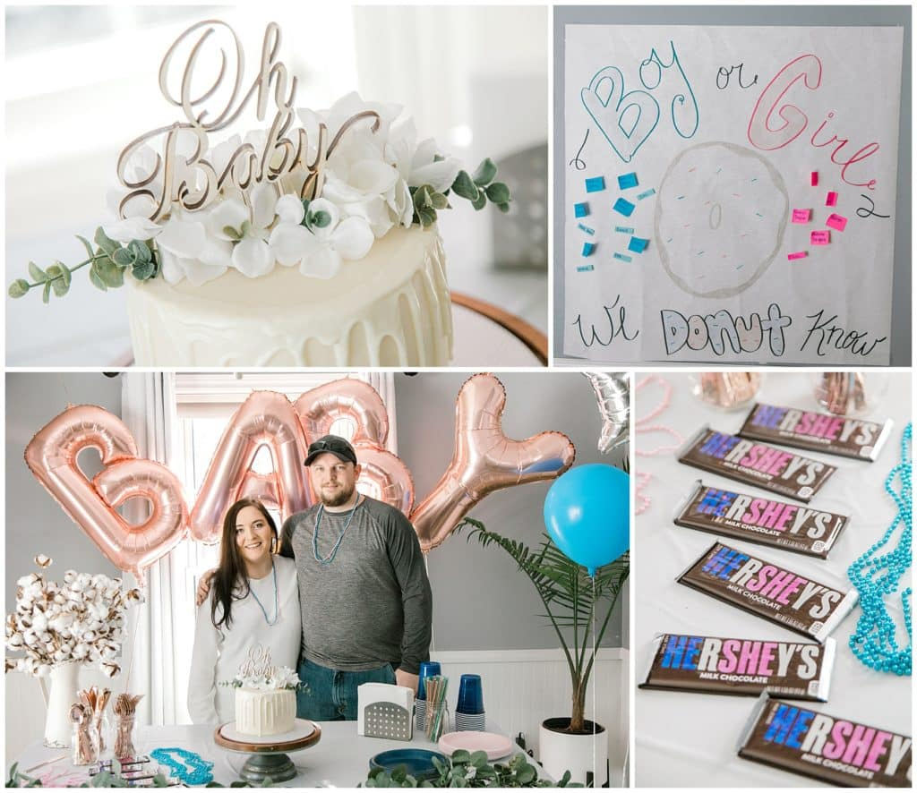 gender reveal with family and friends