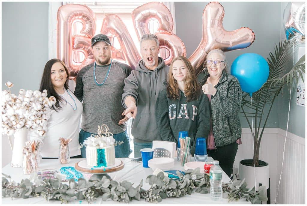 gender reveal party with family