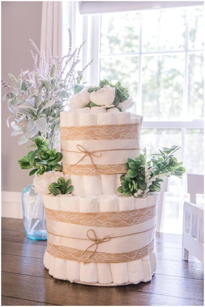 gender neutral floral diaper cake