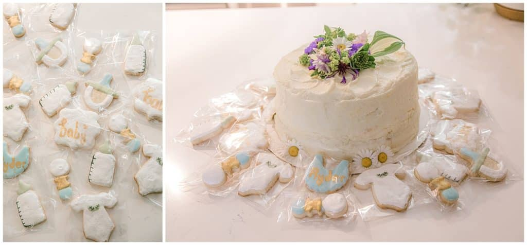 baby shower cake and baby shower cookies
