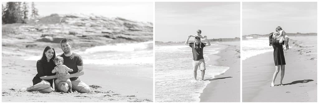 Maine Family Photographer, black and white, beach photoshoot, family